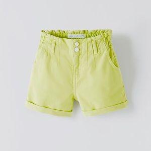 Zara 🆕 Paperbag High Waist Denim Shorts Sz 13-14
